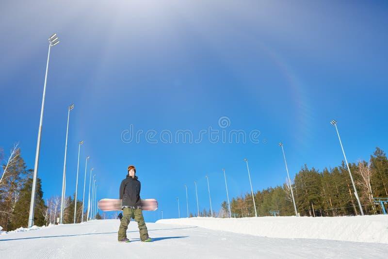 空的滑雪道的挡雪板 库存图片