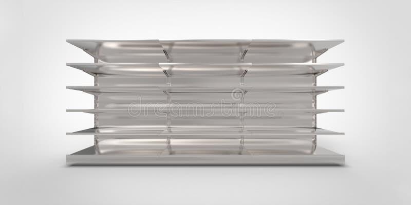 空的灰色灰色金属银镀铬物零售店在简单的背景搁置 向量例证