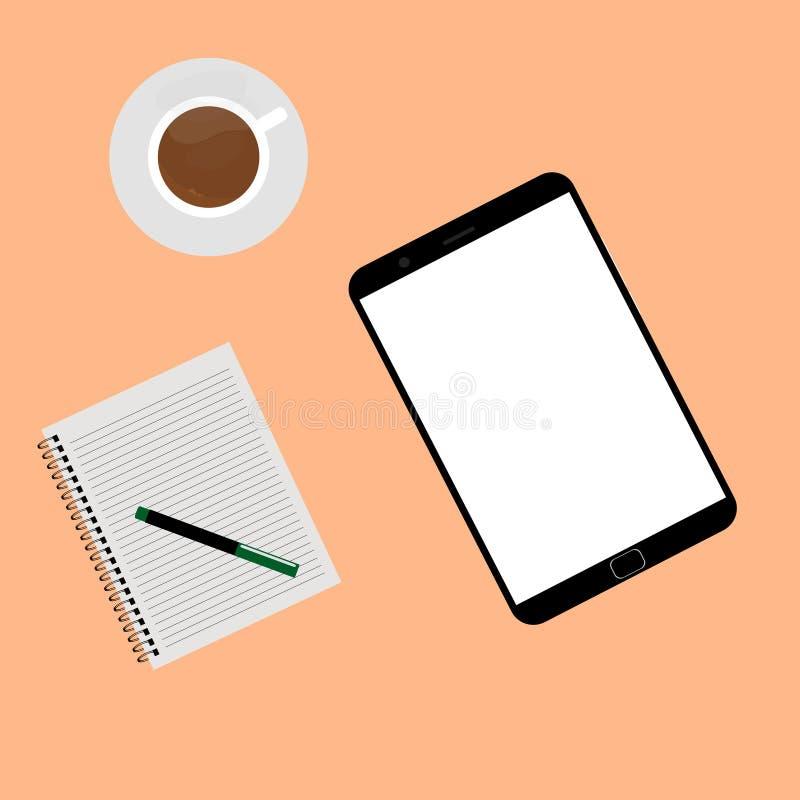 空的片剂和一杯咖啡在橙色背景隔绝的书桌上的 皇族释放例证
