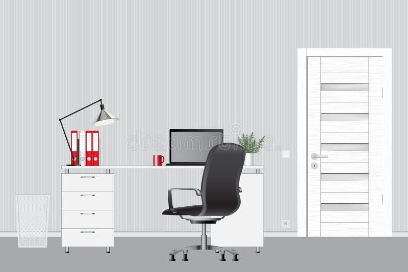 空的现代办公室内部 蓝色云彩图象彩虹天空向量 办公室工作区概念 皇族释放例证