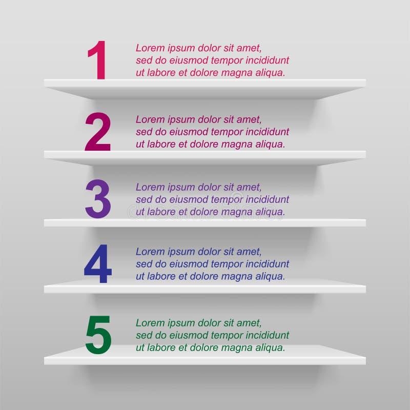 空的现代商店或陈列架子大模型 3d与序号的商店内部infographic模板产品的 向量例证