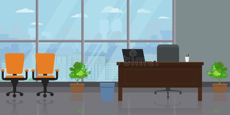 空的现代宽办公室内部有大窗口和都市风景视图 平和单色传染媒介例证 皇族释放例证