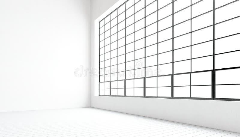 空的现代会议室大全景窗口,被绘的自然木地板,水泥死墙 普通设计内部 向量例证