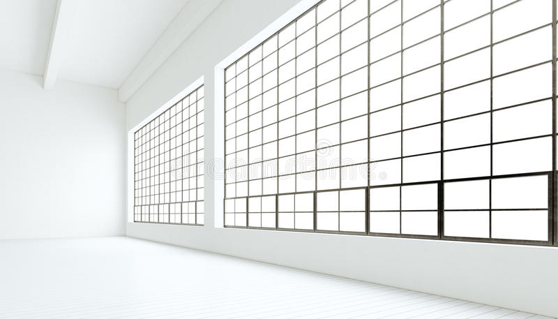 空的现代工业商展室巨大的全景窗口,被绘的白色木地板,干净的墙壁 3d翻译 通用 向量例证