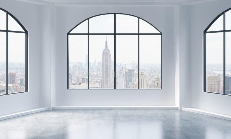 空的现代明亮和干净的顶楼内部 城市新的视图约克 豪华露天场所的概念商业或住宅p的 库存例证