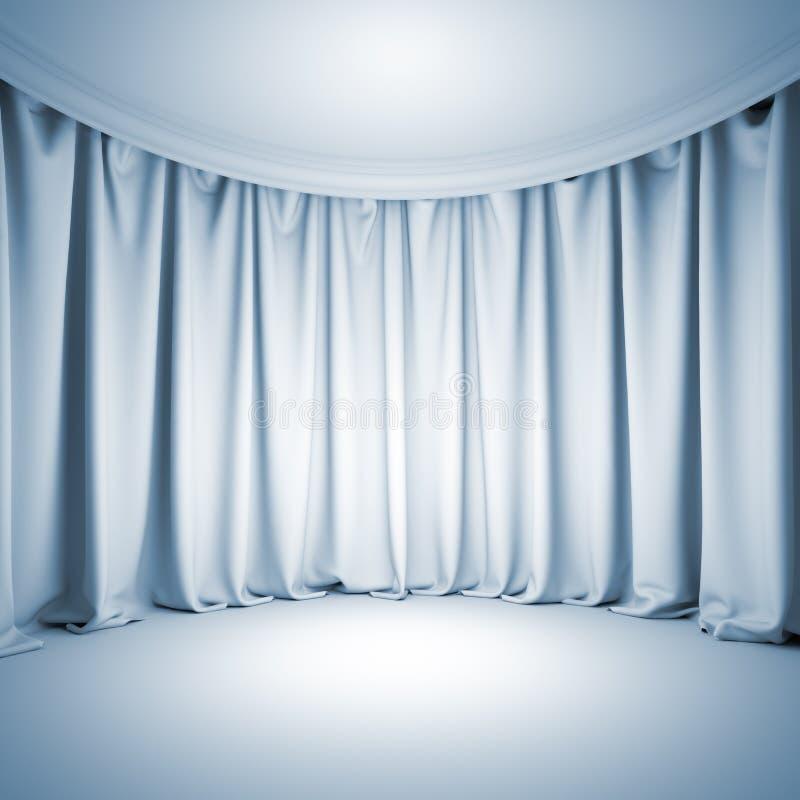 空的白色剧院阶段 向量例证
