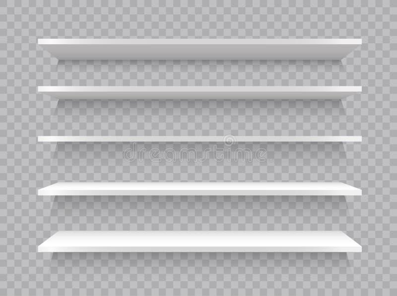 空的白色商店架子,现实书架长方形,陈列室商店 也corel凹道例证向量 库存例证