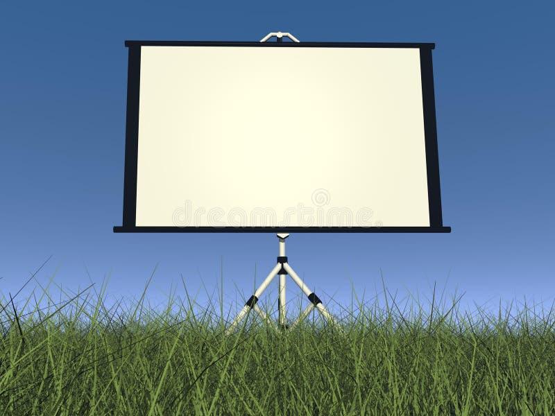 空的白色放映机屏幕- 3D回报 库存例证