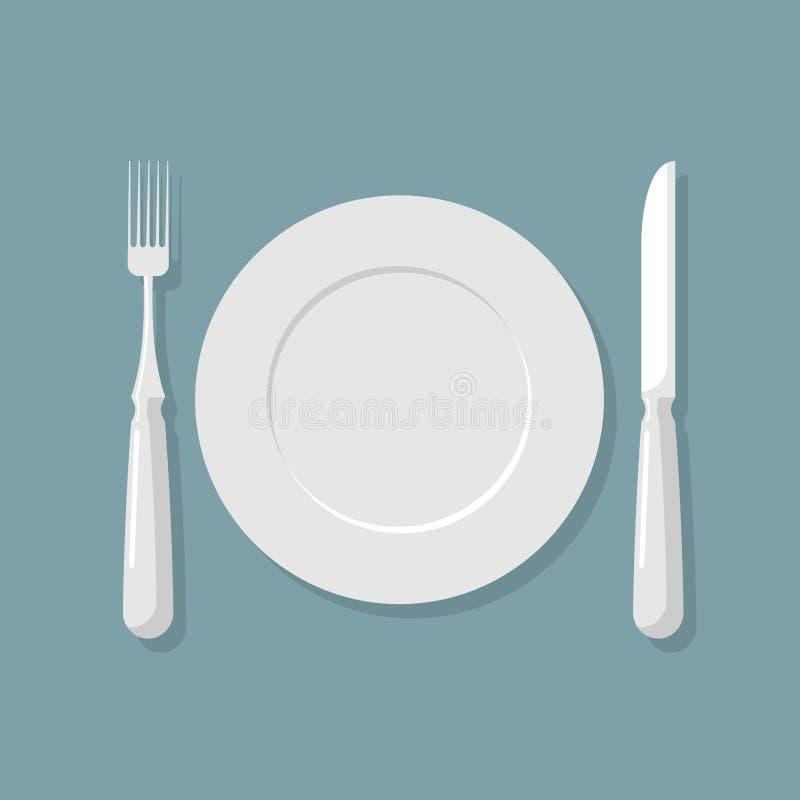 空的白色板材顶视图 刀子和叉子 刀叉餐具 传染媒介illu 库存例证