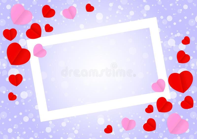 空的白色框架和红色桃红色心形模板横幅华伦泰卡片背景的,许多心脏在紫色梯度塑造 库存例证