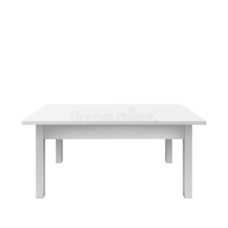 空的白色桌设计 在白色背景隔绝的塑料teble vectro例证 库存例证