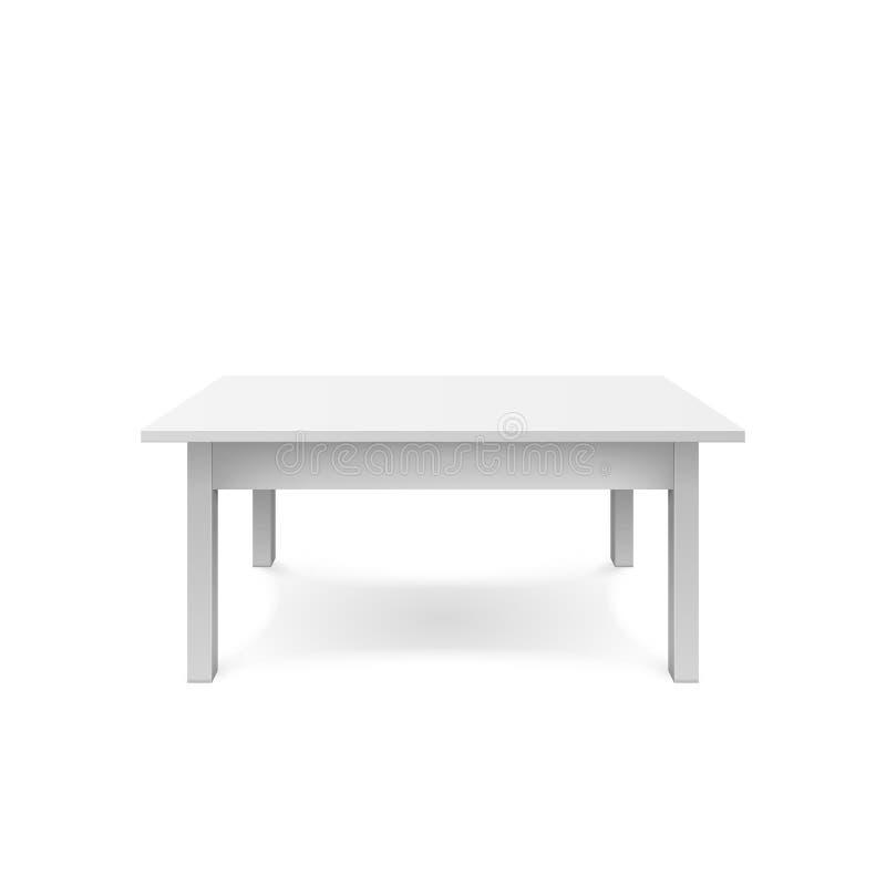 空的白色桌设计 塑料teble与阴影 在白色背景隔绝的Vectro例证 向量例证