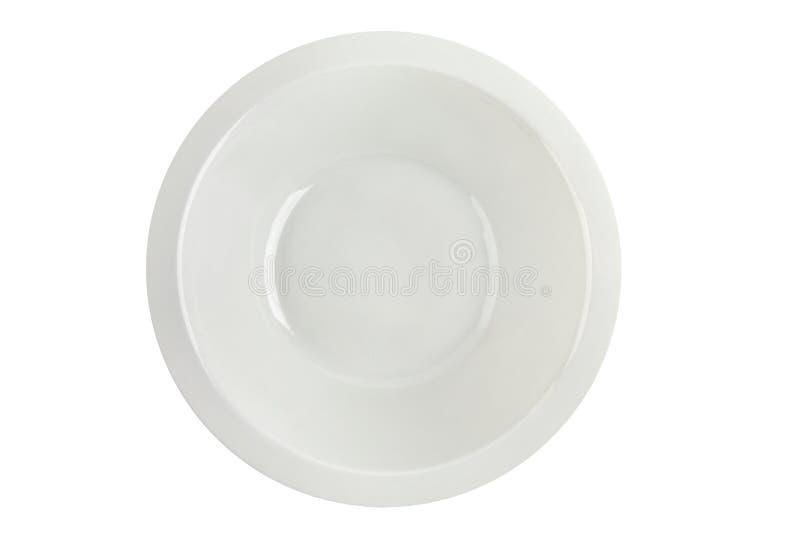 空的白色汤盘被隔绝的顶视图 免版税库存图片