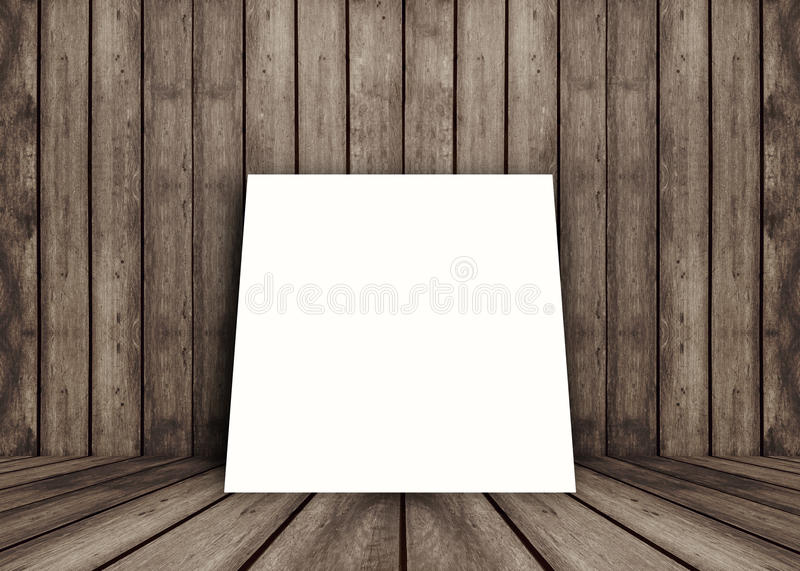 空的白色海报框架投入了老当前产品的难看的东西纹理木内部室,透视木地板和墙壁 库存例证