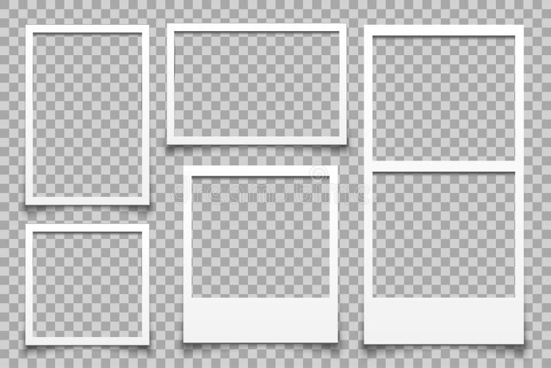 空的白色照片框架-传染媒介 向量例证