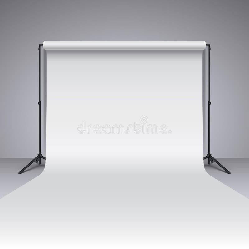 空的白色照片演播室背景 现实摄影师演播室背景 向量例证