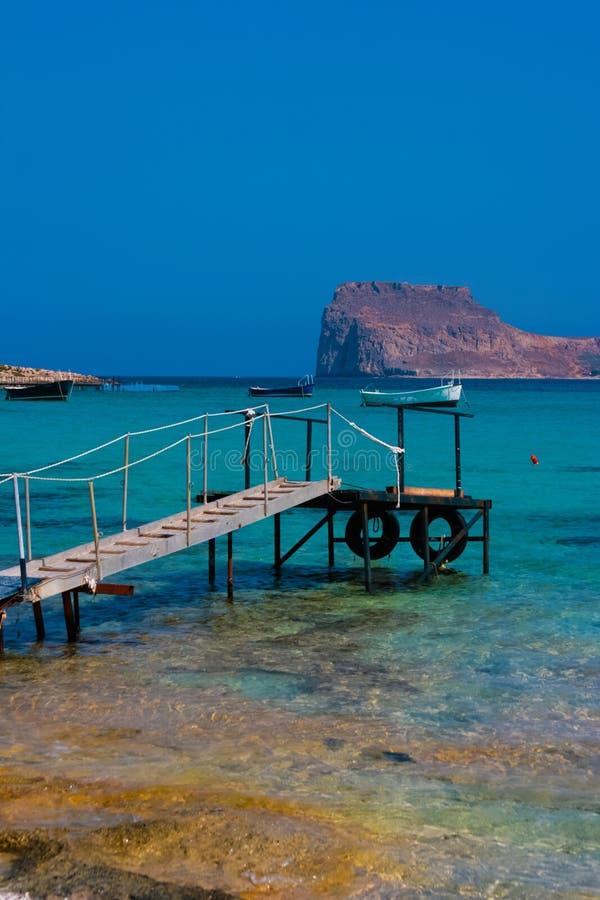 空的码头在克利特的,希腊Balos盐水湖 免版税库存图片