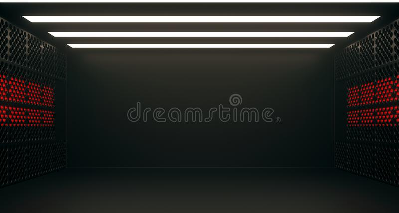 空的科学幻想小说室走廊 3d翻译 库存例证