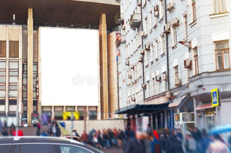 空的空白的广告牌,海报,嘲笑,在街道,您的lo的 免版税库存图片