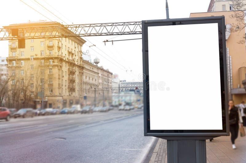 空的空白的广告牌,海报,嘲笑,在街道,您的lo的 库存照片