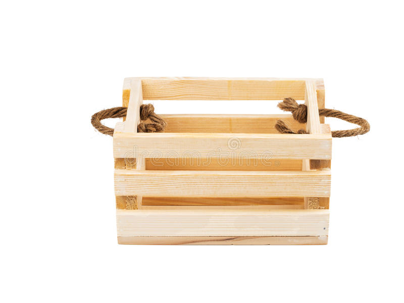 空的篮子与把柄和充塞用秸杆 图库摄影