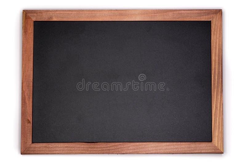 空的粉笔板背景 有木制框架的空白的黑板 免版税图库摄影
