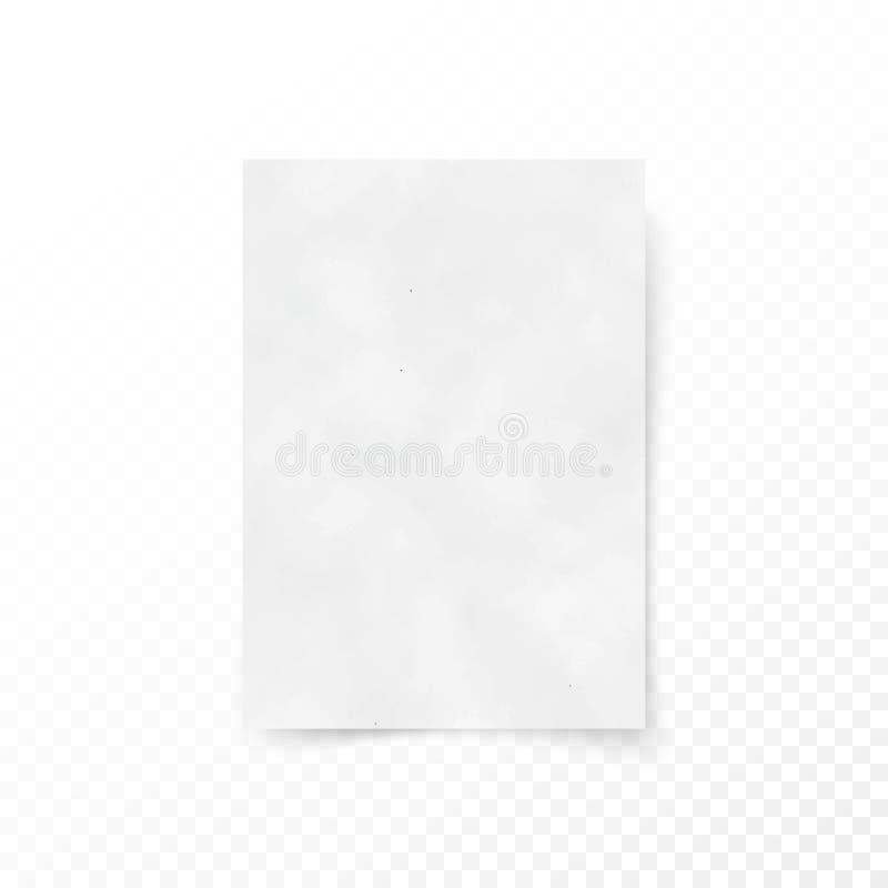 空的纸信件白色板料模板 纸和纸盒纹理 纸表面帆布 向量 库存例证