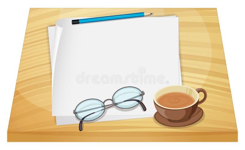 空的纸片在木桌上的 向量例证