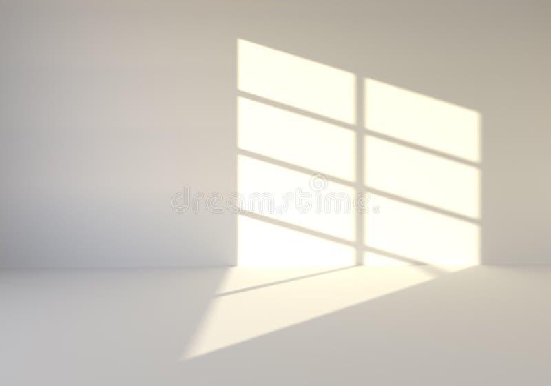 空的绝尘室阐明与太阳光芒 向量例证