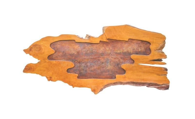 空的老棕色木标志纹理的关闭与文本的空间在与裁减路线的白色背景隔绝的自然样式 免版税库存照片