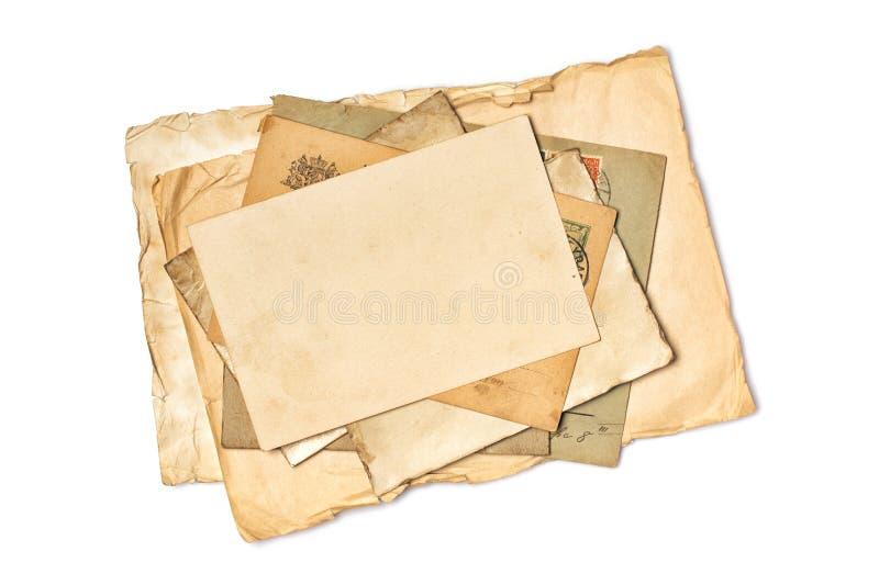 空的老葡萄酒大模型染黄了纸板料和卡片 库存照片