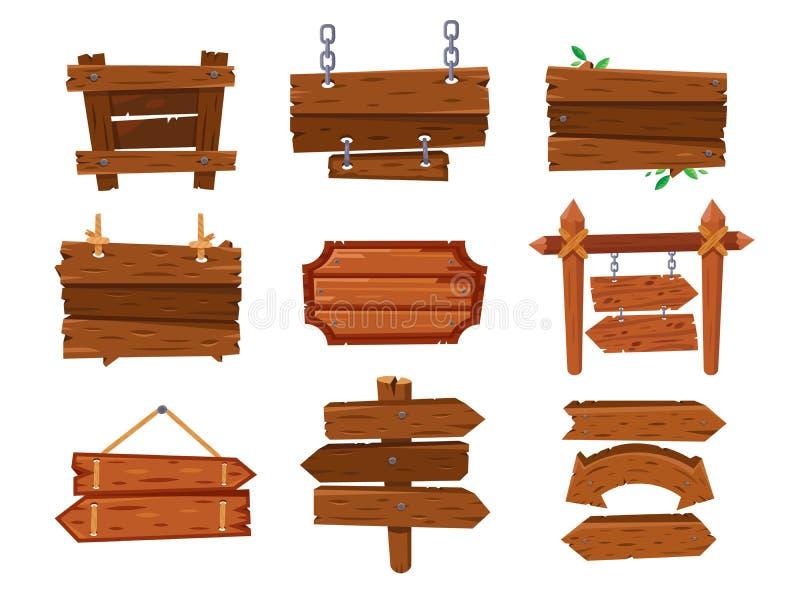 空的葡萄酒动画片木标志板或西部干净的牌 老土气箭头竖立路标,胶合板广告牌和木 皇族释放例证