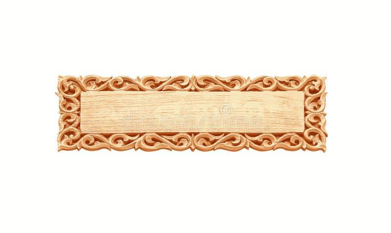 空的葡萄酒木头标志纹理的关闭与雕刻在与裁减路线的白色背景隔绝的边缘样式 库存图片