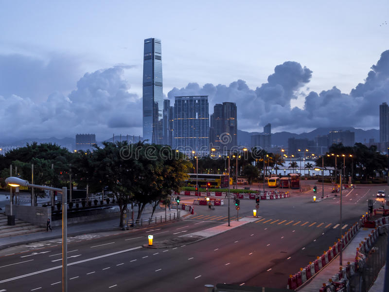 空的街道在香港清早 库存图片