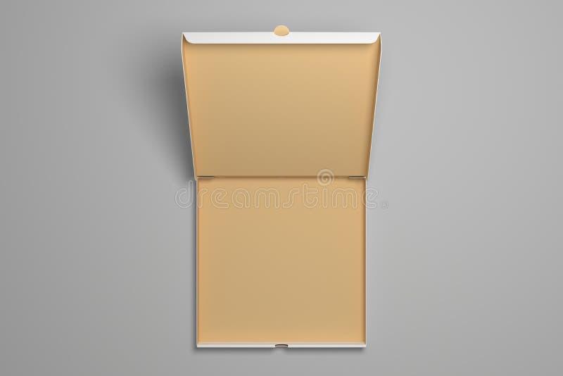 空的被打开的3d例证比萨箱子大模型 免版税库存图片