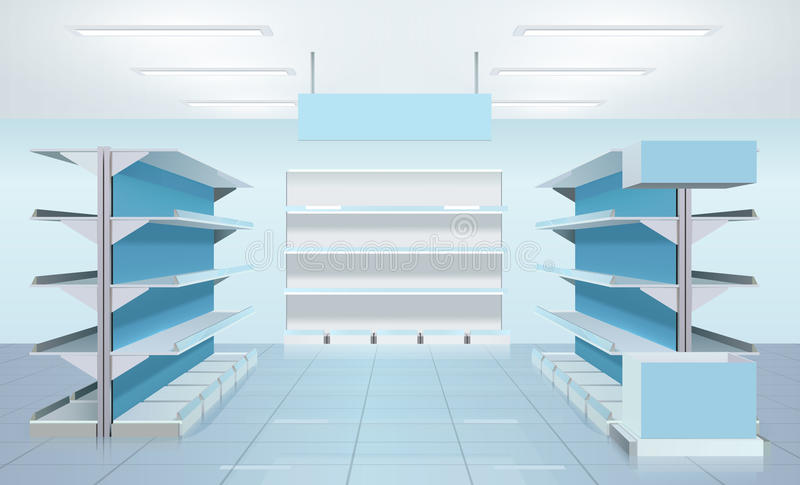 空的超级市场架子设计 皇族释放例证