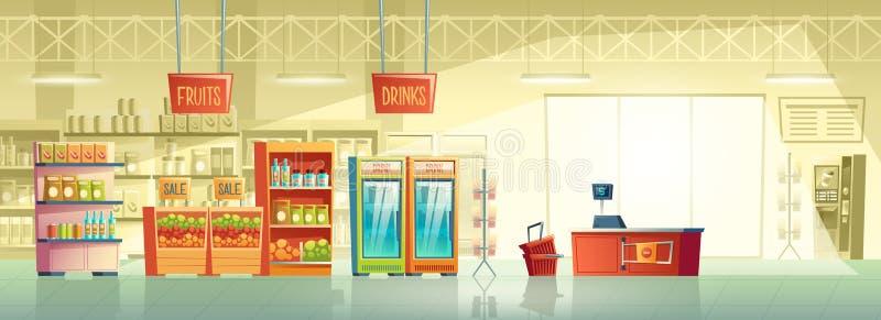 空的超级市场,商店,商店传染媒介背景  皇族释放例证