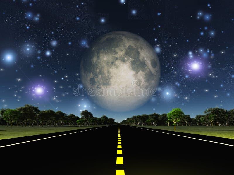 空的路和星 皇族释放例证