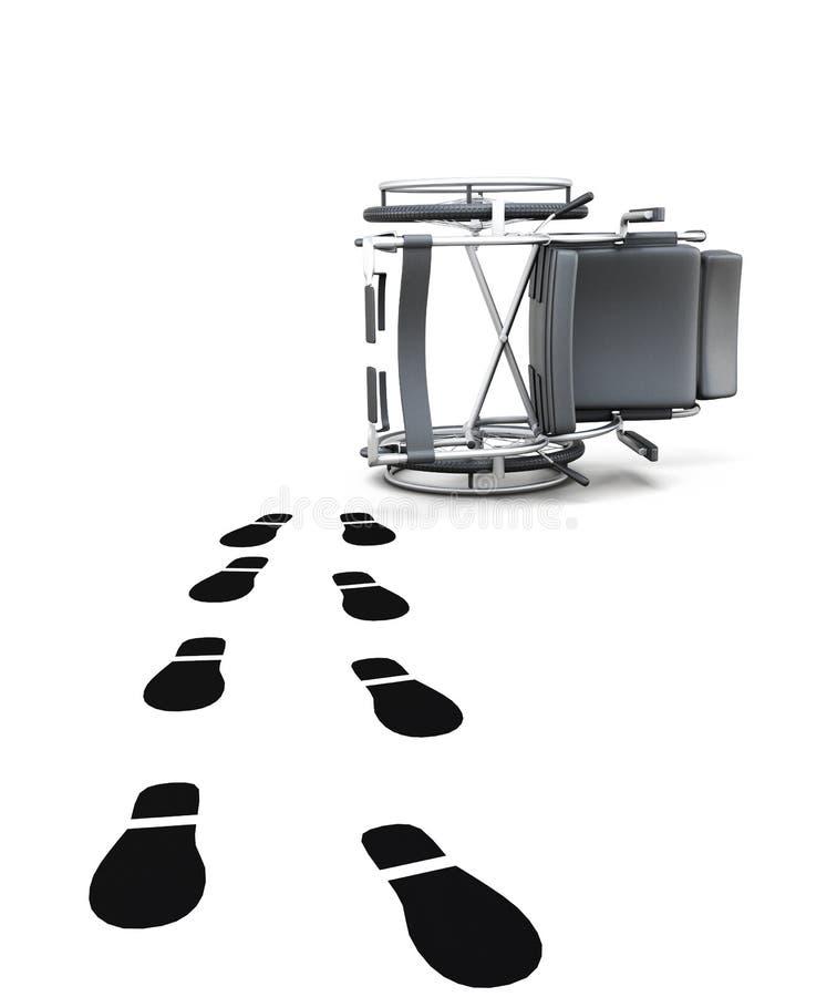 空的轮椅和脚印在白色背景 3D renderin 向量例证