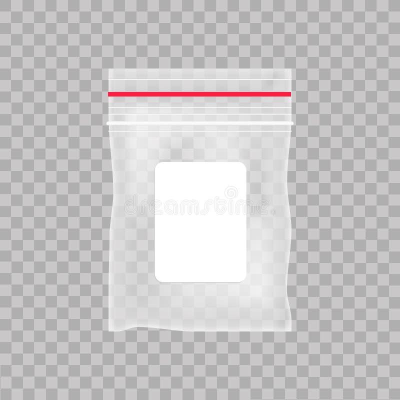空的透明塑料口袋袋子 在透明背景的空白的真空拉链袋子 也corel凹道例证向量 皇族释放例证