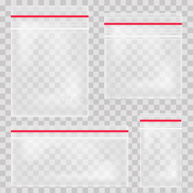 空的透明塑料口袋袋子 空白的真空拉链袋子 在透明背景设置的聚乙稀容器 传染媒介illu 向量例证