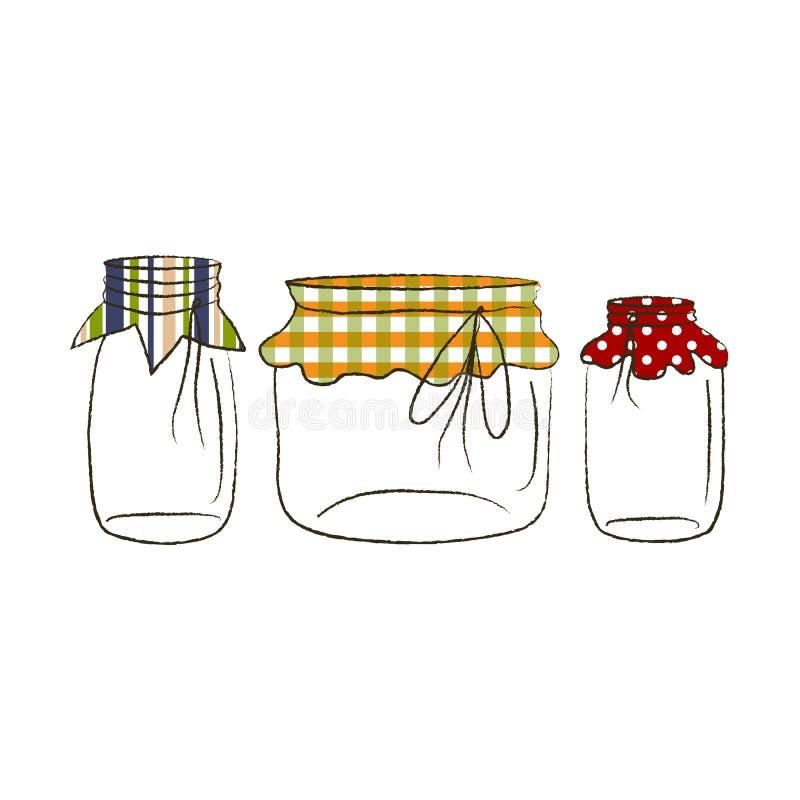 空的金属螺盖玻璃瓶和纸 向量例证
