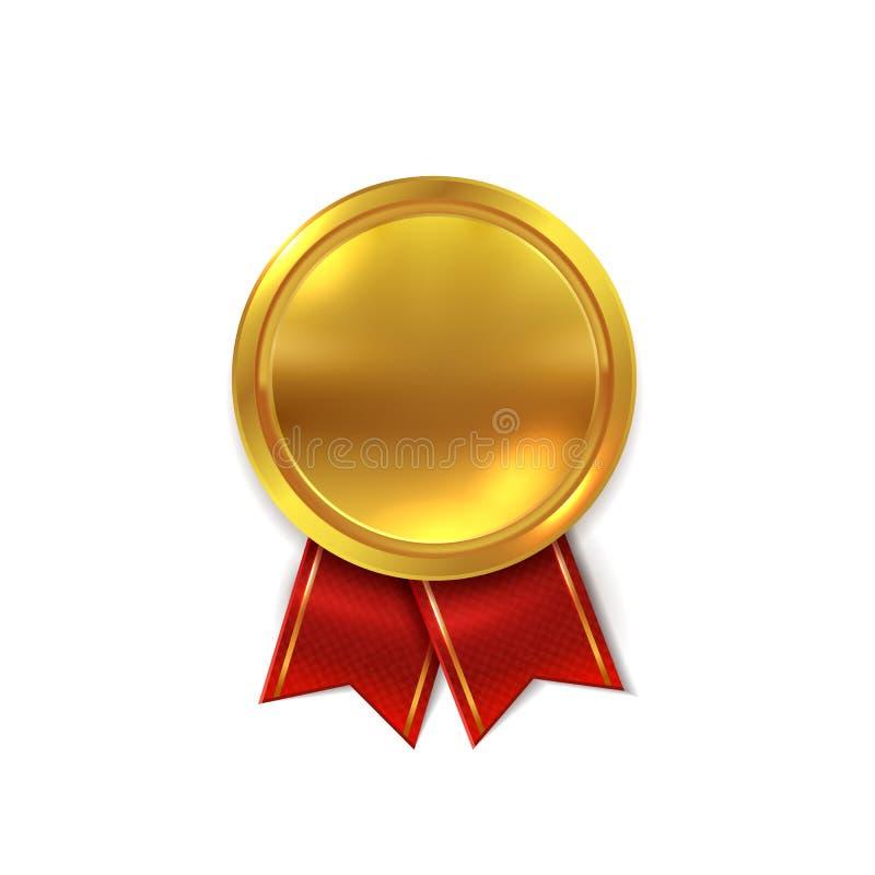空的金牌 证明或优胜者星奖现实传染媒介例证的发光的金黄圆的封印 向量例证