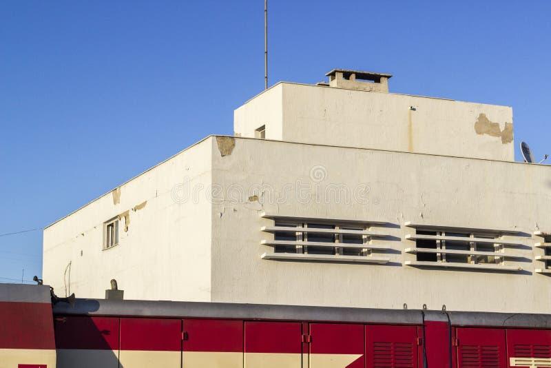 空的铁路管理大厦透视宽射击  库存照片