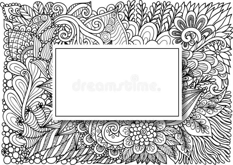 空的长方形框架有卡片的阴影在手边被画的花卉背景,邀请等等 也corel凹道例证向量 库存例证