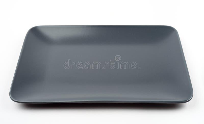 空的长方形黑色的盘子 免版税图库摄影