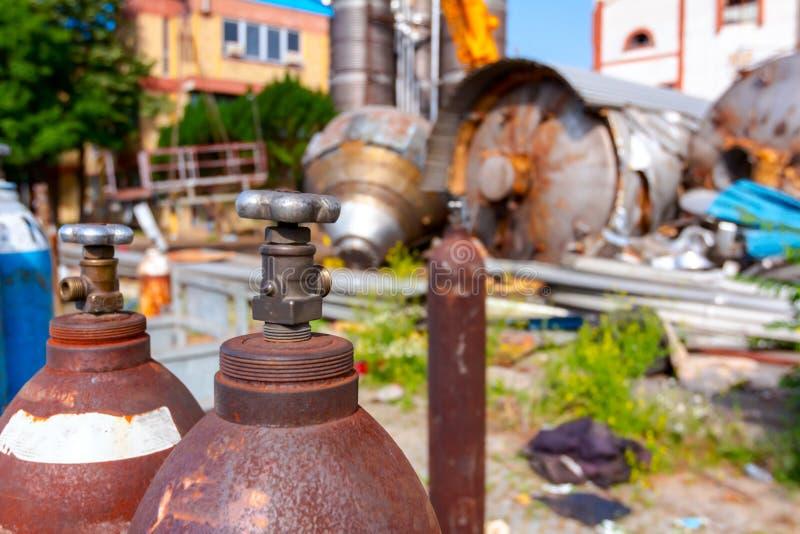 空的集气筒容器,乙炔,氧气 库存图片