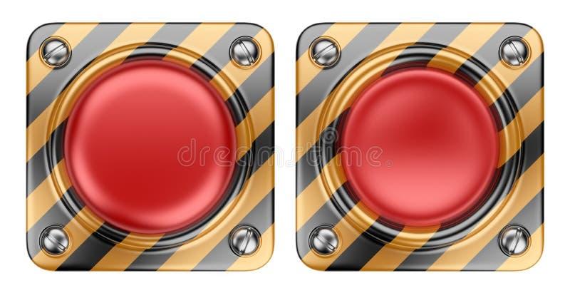 空的预警红色按钮。 3D查出的图标 库存例证