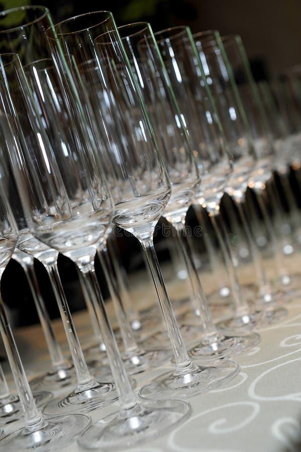 空的香槟玻璃 免版税库存照片