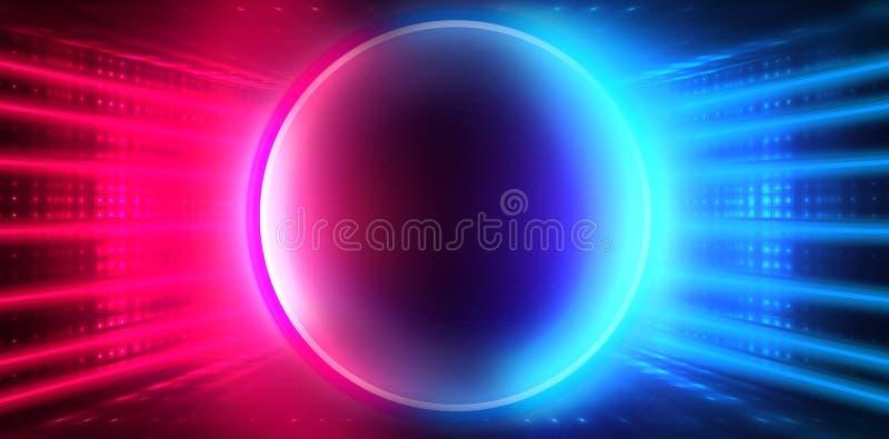 空的黑暗的未来派有光和圈子形状的霓虹灯的科学幻想小说大霍尔室 黑暗的霓虹背景 皇族释放例证